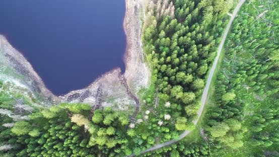 Aerial Top Down Fly Over Forest Lake And Empty Road
