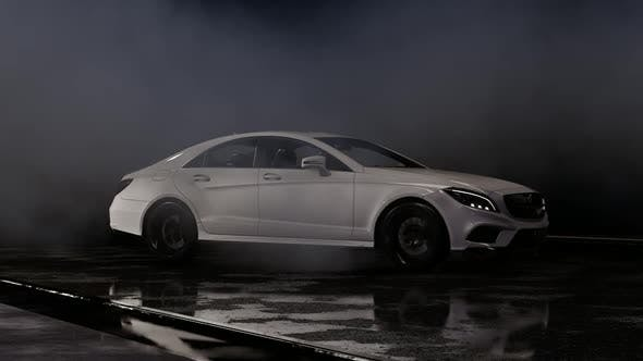 Thumbnail for Luxury Sports White Car Drift at Night Parking Lot