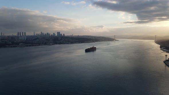 Cargo Ship in Bosphorus Istanbul