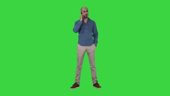 Thumbnail for Arabic Man Talking on the Phone on a Green Screen, Chroma Key