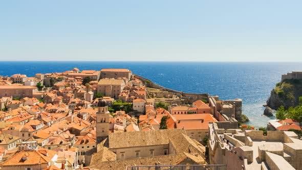 Dubrovnik Old City View, Tourist Travel Destination, Mediterranean Sea, Croatia