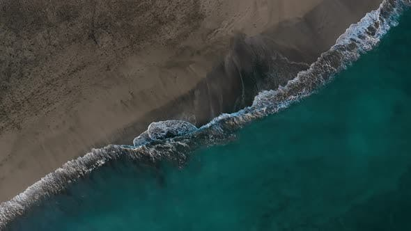 Thumbnail for Top View of the Desert Black Beach on the Atlantic Ocean. Coast of the Island of Tenerife. Aerial