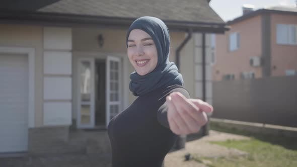 Thumbnail for Portrait of Independent Young Muslim Woman Smiling and Flirting Wearing Traditional Headscarf on the