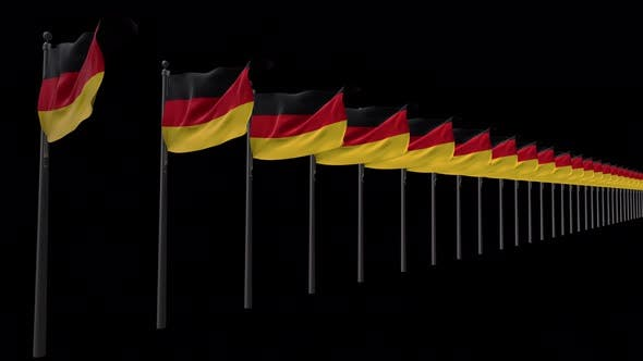 Row Of Germany Flags With Alpha 4K