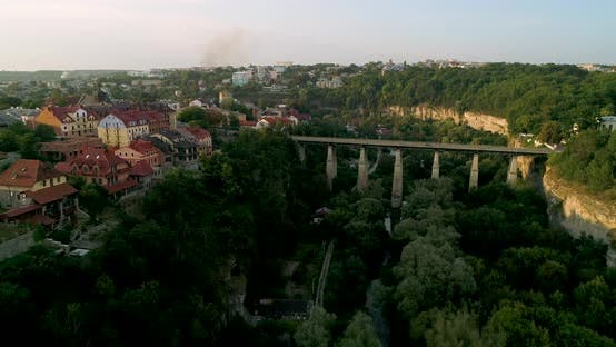 Aerial View of Canyon and Old Town in the Kamenec-Podolskiy