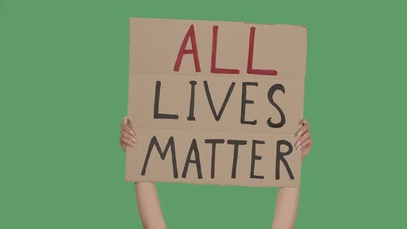 Thumbnail for ALL LIVES MATTER. Protest Text Message on Cardboard. Stop Racism. Police Violence. Banner Design
