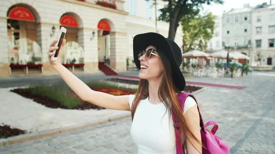 Thumbnail for Female Blogger Smartphone City
