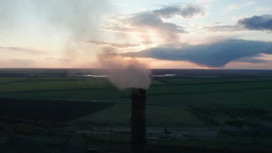 Thumbnail for Aerial View. Chimney Pollution Pipes with Grey Smoke. Environmental Pollution Concept Danger To