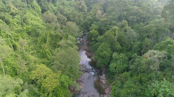 Thumbnail for Flying Drone over River to Falls in Jungle
