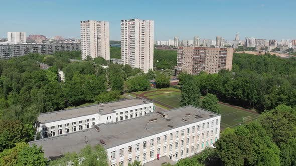 Thumbnail for Top View of School, Sports Stadium and Residential Buildings in Moscow, Russia