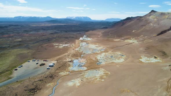 Hverir Geothermal Area and Mountains. Iceland. Aerial View