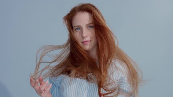 Gingerhead Red Hair, Ginger Hair Model with Blue Eyes on Blue Background
