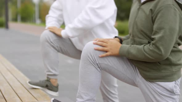 Thumbnail for Asian Boy and His Mother Doing Stretching Exercise Outdoors