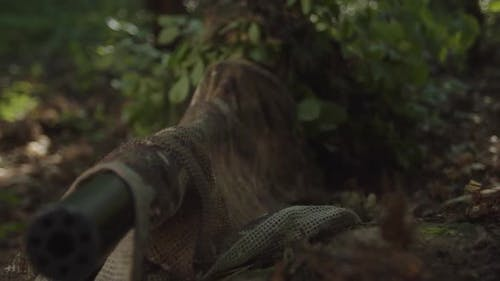 Closeup of Sniper Looking Through Scope of Optical Sight in Forest