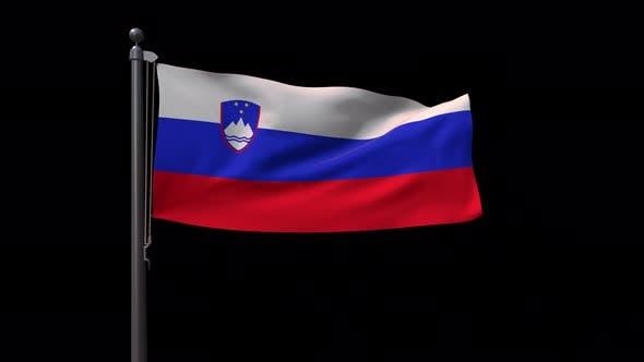 Slovenia Flag On Flagpole With Alpha Channel 4 K