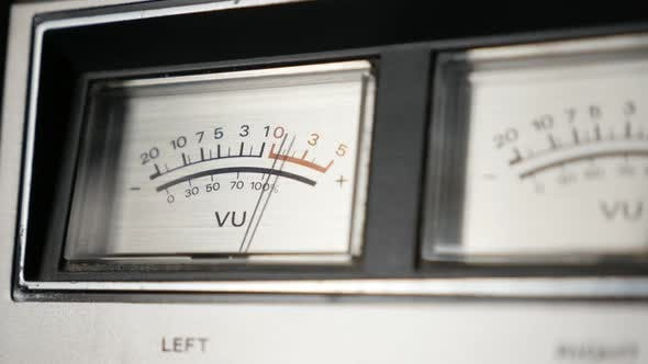 Thumbnail for Retro audio device analog VU meter slow-mo 1080p FullHD footage - Needles of standard volume level