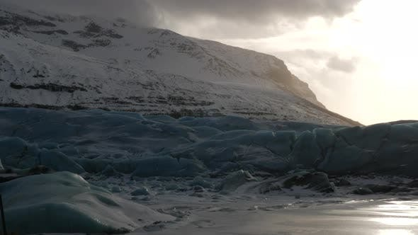 Thumbnail for Iceland Blue Glacier Ice Chunks In Winter With Sun Flare