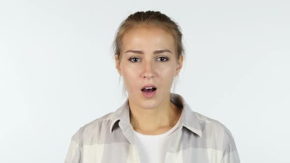 Shocking News, Upset, Portrait of Beautiful Girl in Shock, White Background