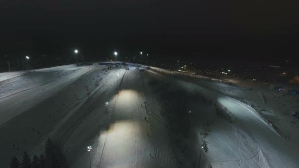 Thumbnail for Ski Resort at Night. Aerial View