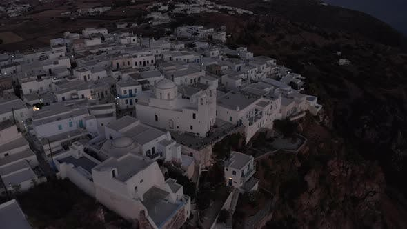 Cover Image for Wide View Over a Greek Village After Sunset, Aerial