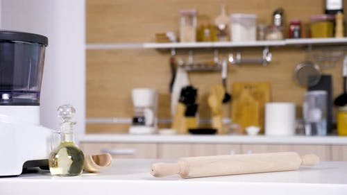 Modern Empty Kitchen with Different Cooking Accessories
