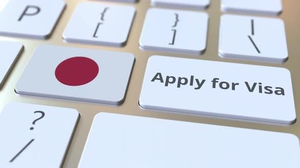Bewerben Sie sich für Visa Text und Flagge von Japan auf der Tastatur