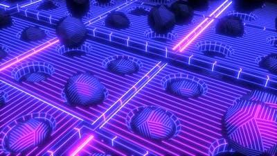 Neon geometric retrofuturistic  geometric pieces