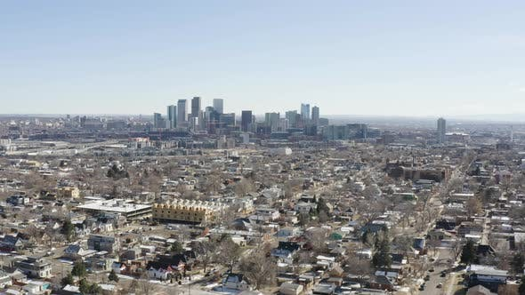 Cover Image for Aerial View Denver Colorado City Skyline From North Suburban Outskirts
