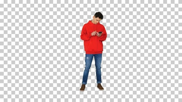 Thumbnail for Successful young casual man receiving, Alpha Channel