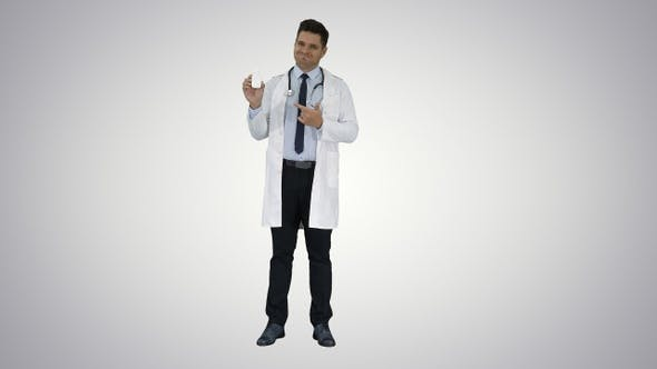 Thumbnail for Doctor Physician Presenting Medicine on Gradient Background