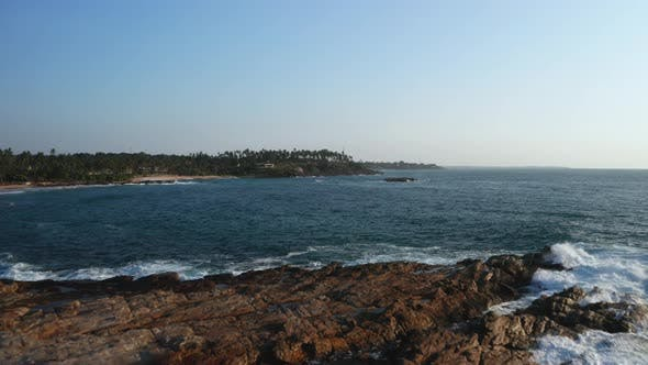 Thumbnail for View of the Coastal Line During Sunrise on the Southern Part of the Island of Sri Lanka. Ocean Waves