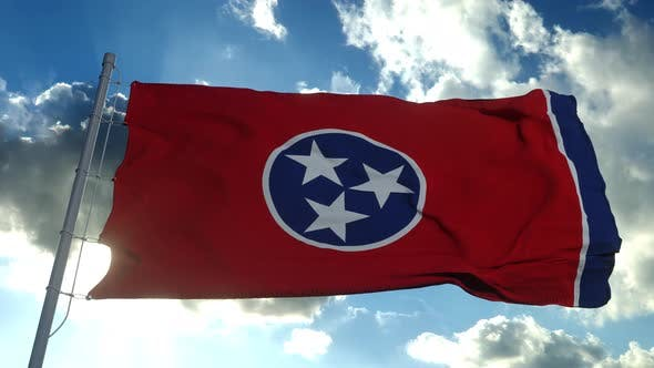 Flag of American State of Tennessee, Region of the United States.