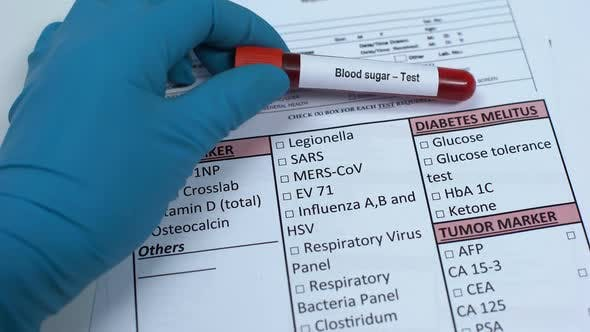 Thumbnail for Blood Sugar, Doctor Checking Disease in Lab Blank, Showing Blood Sample in Tube