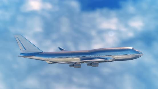 Thumbnail for Large Passenger Airplane Flying in the Clouds