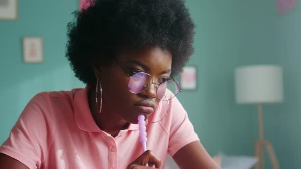 Afro-American Woman Is Thinking