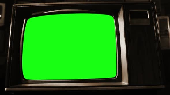 Thumbnail for Old TV Set Green Screen. Sepia Toned.
