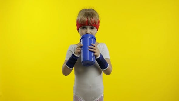 Thumbnail for Girl in Sportswear Drinking Water for Refreshment After Fitness Exercises. Little Athletic Child