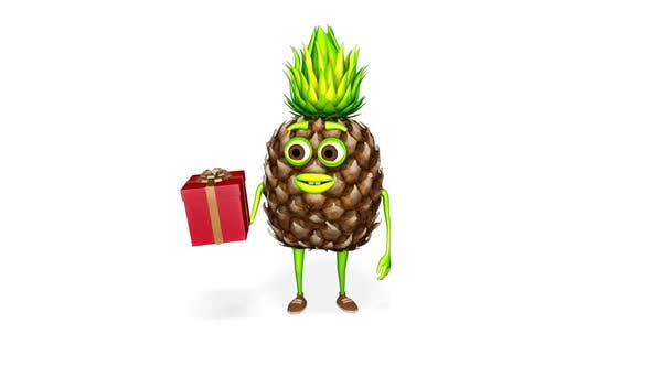 Thumbnail for Pineapple Cartoon Shows Gift Loop On White Background