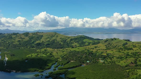 Thumbnail for Island with Hills and Tropical Forest. Tropical Landscape, View From Above.