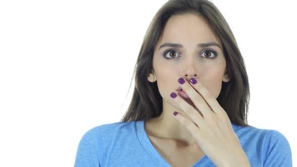 Thumbnail for Shock, Upset Beautiful Brunette Woman on White Background