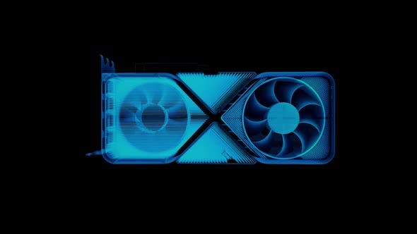 High Technology Ray Tracing Graphics Card Blue Hologram HD