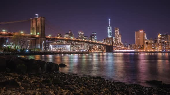 Thumbnail for Timelapse of Brooklyn Bridge at night