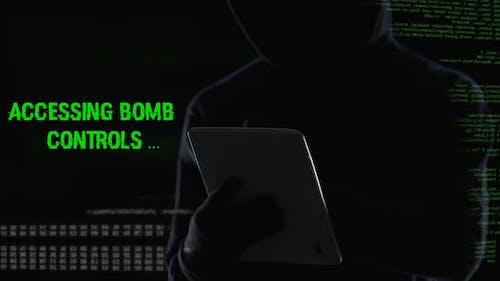Terrorist Remotely Activating Bomb Explosion Mechanism, Major Terror Attack