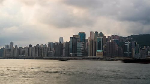 skyline of Hong Kong at Victoria Harbour.