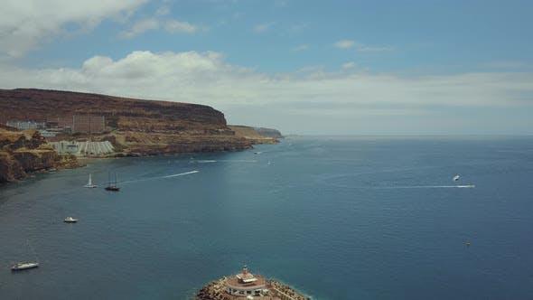 Breathtaking aerial views of Puerto de Mogan bay, Gran Canaria, Spain