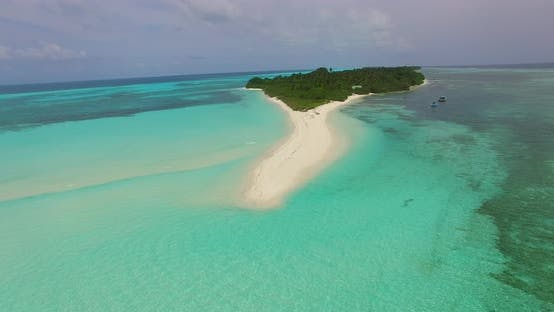 Thumbnail for Wide angle aerial abstract view of a white paradise beach and blue sea background in vibrant 4K
