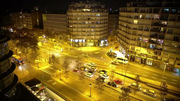 Thumbnail for Intensive Night Traffic Timelapse, Many Cars Driving, People Rushing in Streets