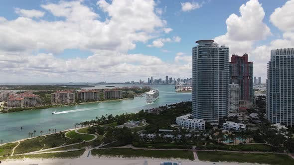 Thumbnail for Cruise ship in the Miami inlet aerial drone shot