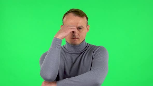Thumbnail for Portrait of Male Focused Thinking About Something, No Idea. Green Screen
