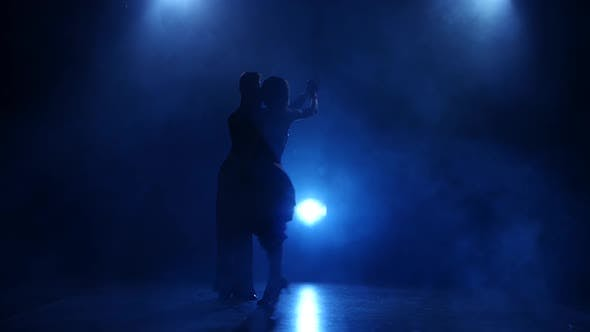 Thumbnail for Silhouette of Pair Dancers Performing Samba Dance in Smoky Studio
